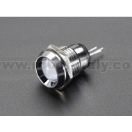 8mm Chromed Metal Wide Bevel LED Holder - Pack of 5