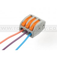 Snap-action 3-Wire Block Connector (12-28 AWG) - Pack of 3