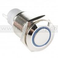 Metal Pushbutton - Latching (16mm, Blue)