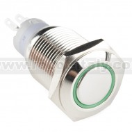 Metal Pushbutton - Momentary (16mm, Green)