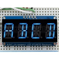 "Quad Alphanumeric Display - Blue 0.54"" Digits w/ I2C Backpack"