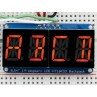 "Quad Alphanumeric Display - Red 0.54"" Digits w/ I2C Backpack"
