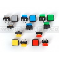 Colorful Square Tactile Button Switch Assortment - 15 pack -