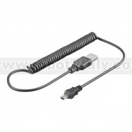 USB Spiral Cable - A to Mini B - 100cm