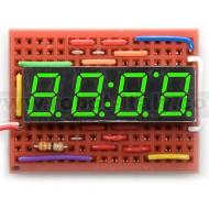 7 Segment led display - 4 digits - CA - kelly green