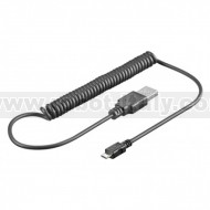 USB Spiral Cable - A to Micro B - 100cm