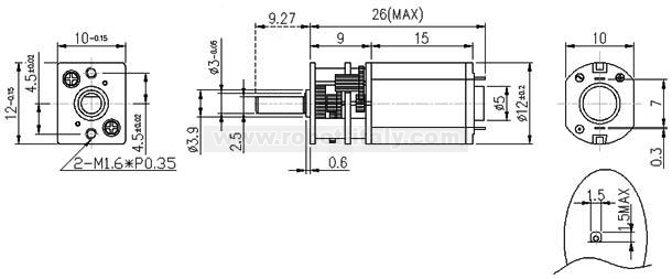 2214 100 1 Micro Metal Gearmotor Hp With Extended Motor