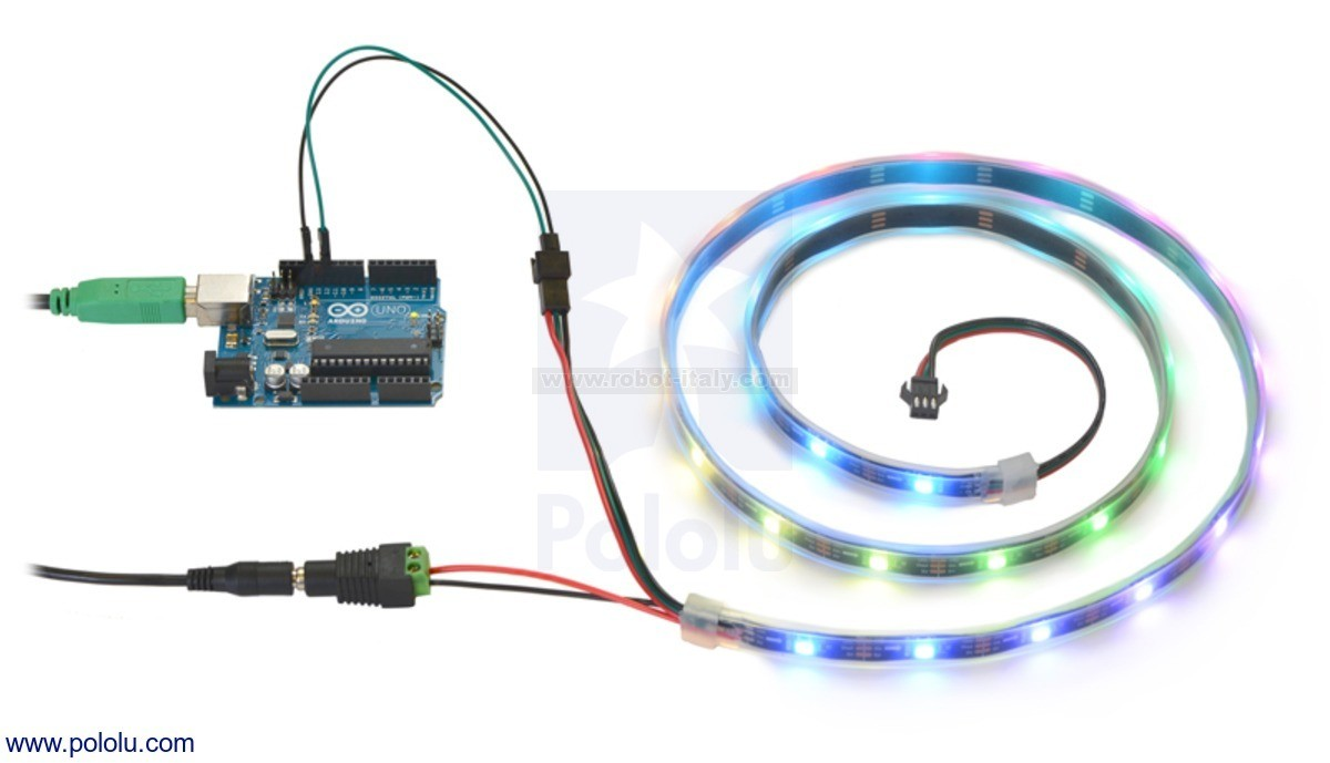 2526 Addressable Rgb 30 Led Strip 5v 1m Sk6812 From Pololu Electrical Wiring This 1 Meter Long Contains Leds That Can Be Individually Addressed Using A One Wire Interface Allowing You Full Control Over The Color Of Each