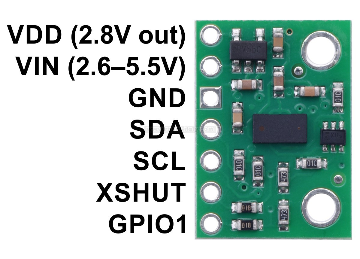 2490 Vl53l0x Time Of Flight Distance Sensor Carrier With Voltage Embedded Engineering Rotary Encoder Interfacing Msp430 This Is A Breakout Board For Sts Laser Ranging Which Measures The Range To Target Object Up 2 M Away