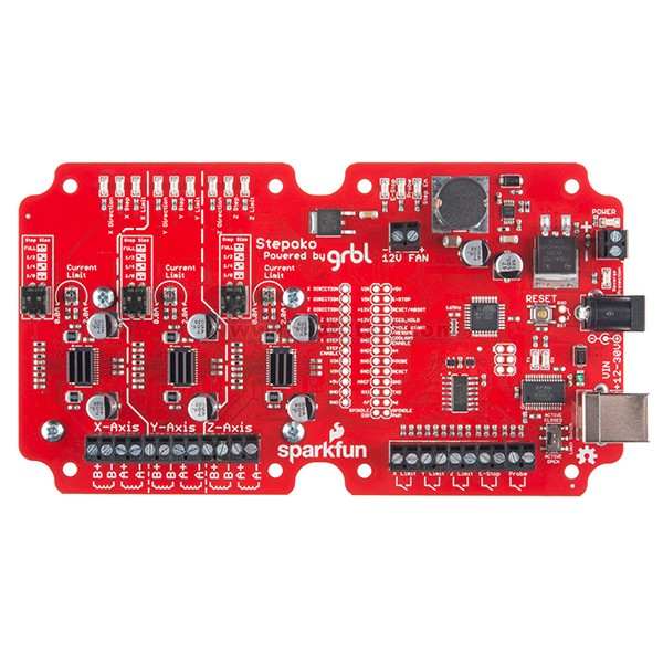 The SparkFun Stepoko is an Arduino compatible, 3-axis control solution that runs grbl software and is able to connect to your computer to accept stepper ...