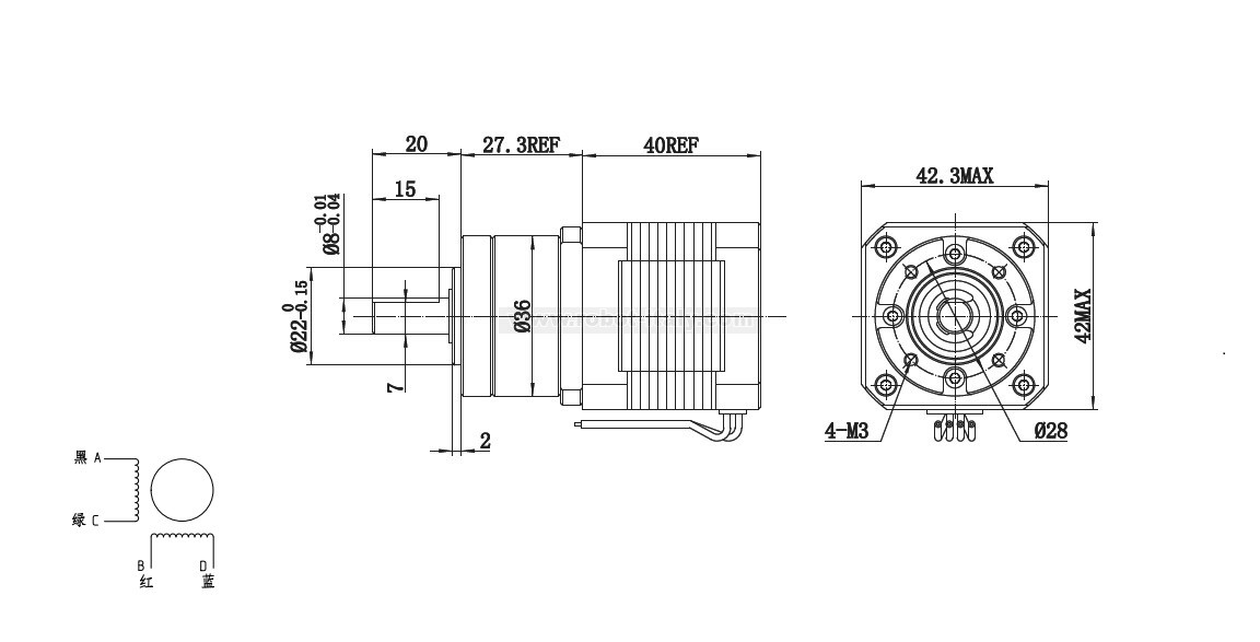 Bipolar Stepper Motor with Planet Gear Box (18kg cm) , from