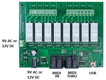 MIDI Relay/Dimmer Output Module - 4 Relays - 4 Dimmers
