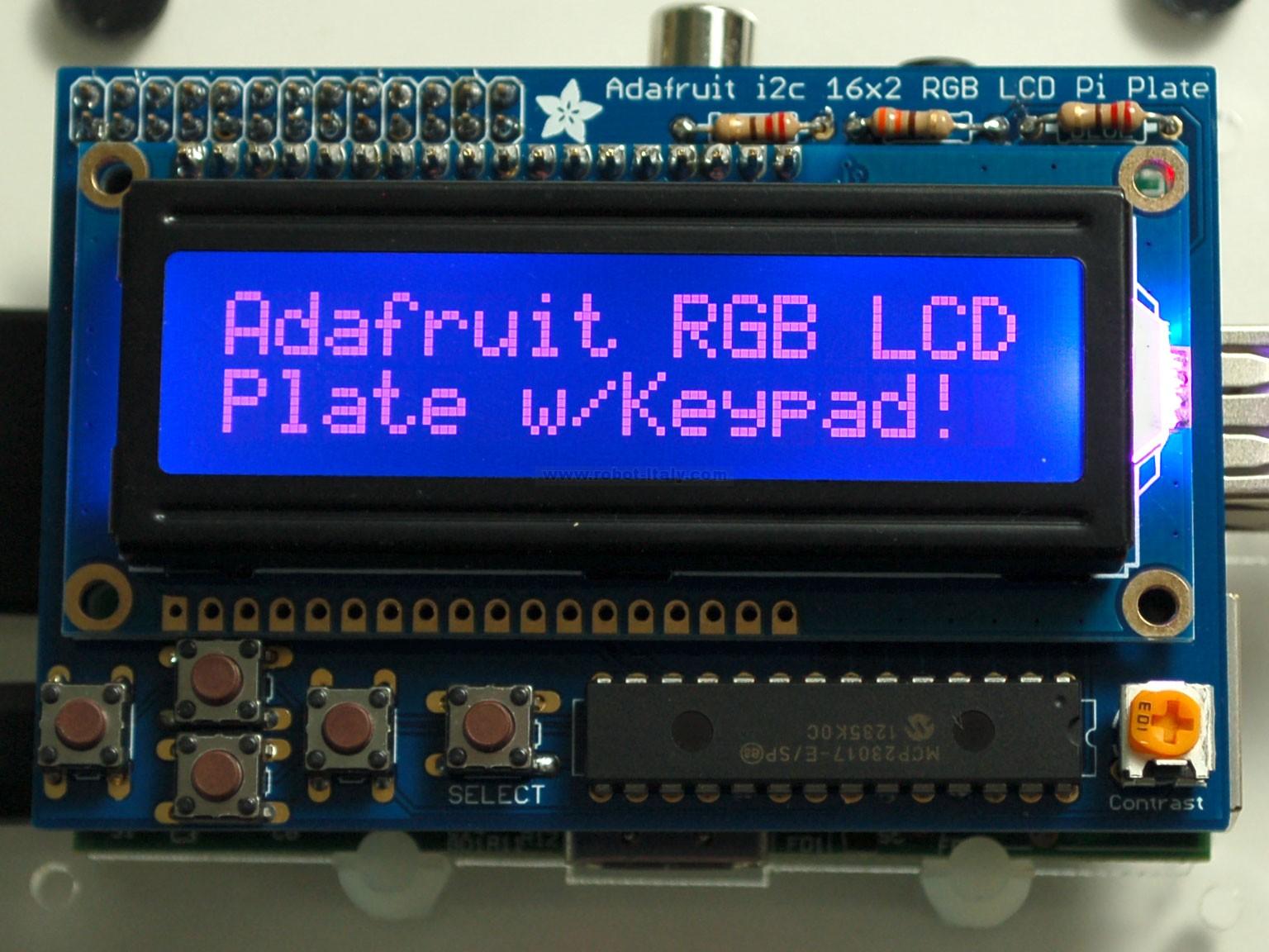 Adafruit RGB Negative 16x2 LCD+Keypad Kit for Raspberry Pi