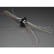 Slip Ring with Flange - 22mm diameter, 6 wires, max 240V @ 2A