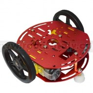 ROBOT-2WD-KIT2 - METAL ROBOT CHASSIS KIT WITH TWO WHEELS, TWO DC GEAR MOTORS, ONE FREE WHEEL.